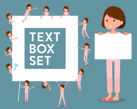 Set of various poses of flat type patient woman_text box