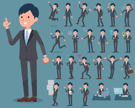 Set of various poses of flat type Gray suit businessman_1