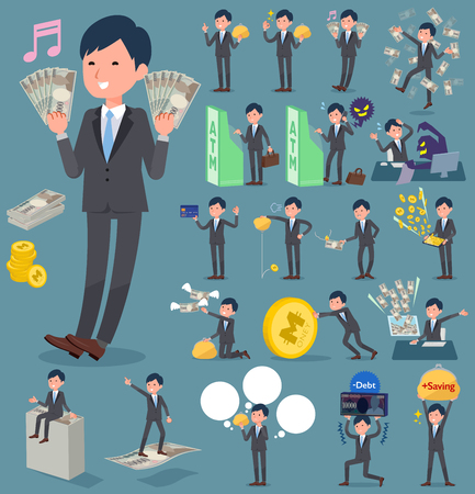 Set of various poses of flat type Gray suit businessman_money