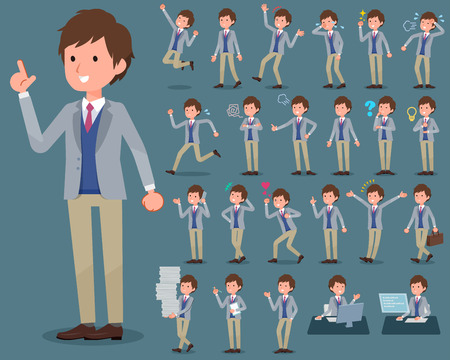 Set of various poses of flat type Jacket blue vest men_1 Иллюстрация