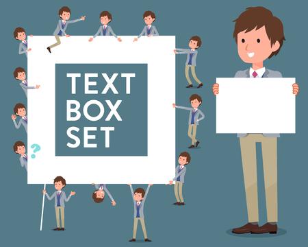 Set of various poses of flat type Jacket blue vest men_text box
