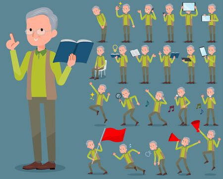 Set of various poses of flat type Green vest grandfather_2 Illustration