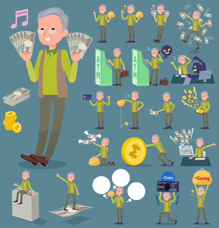 Set of various poses of flat type Green vest grandfather_money