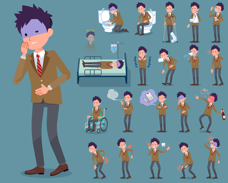 Set of various poses of flat type school boy Brown Blazer_sickness