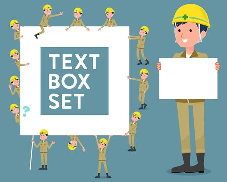 Set of various poses of flat type helmet construction worker man_text box