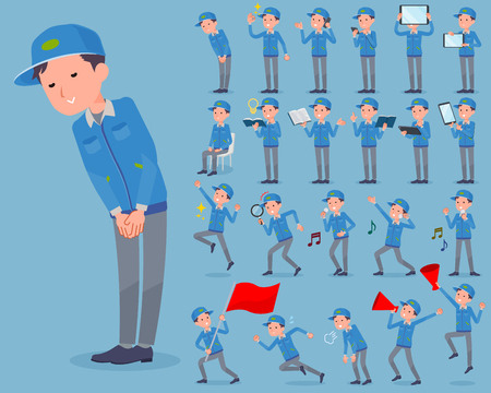 Set of various poses of flat type Delivery men_2