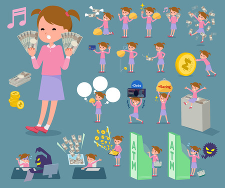 school bills: Set of various poses of flat type Pink clothing girl with money Illustration