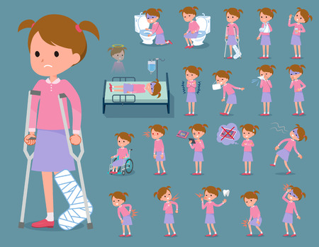 hospitalization: Set of various poses of flat type Pink clothing girl who is sick