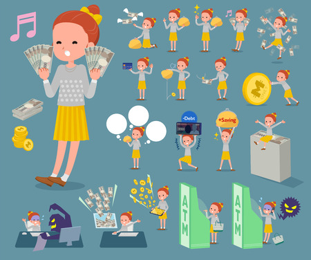 simple girl: Set of various poses of flat type Polka dot clothes ribbon girl_money Illustration