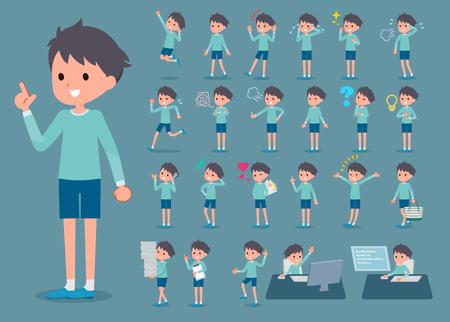 Set of various poses of flat type blue clothing boy_1.  イラスト・ベクター素材