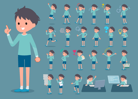 Set of various poses of flat type blue clothing boy_1. Çizim