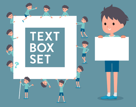 Set of various poses of flat type blue clothing boy_text box.