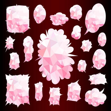 Comic Words Balloon Set pink Cubism texture design template illustration