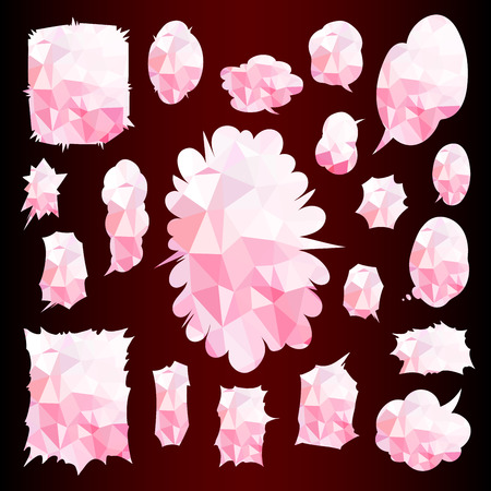 Conjunto de globos de palabras cómicas Conjunto de ilustración de patrones de textura de cubismo rosa Ilustración de vector