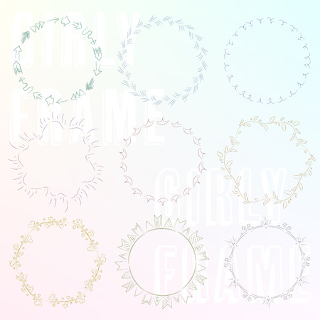 Set of hand paint girly frame05