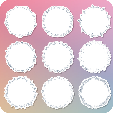 Set of the various hand paint girly frame.  イラスト・ベクター素材