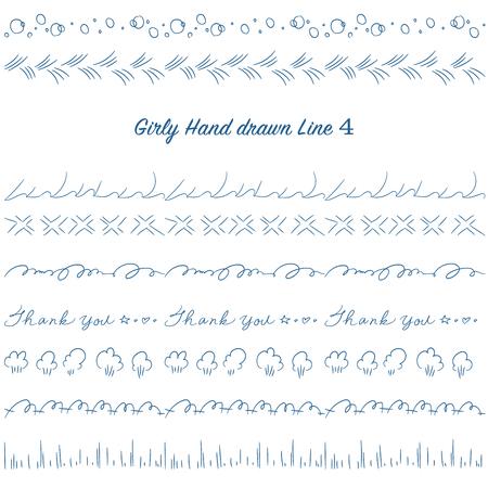 Girly hand drawn decoration line set design.