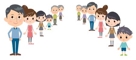 Family three generations depth Illustration