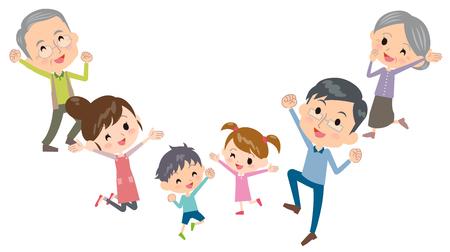 Famille trois générations saute Vecteurs