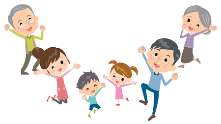 Family three generations jump Illustration