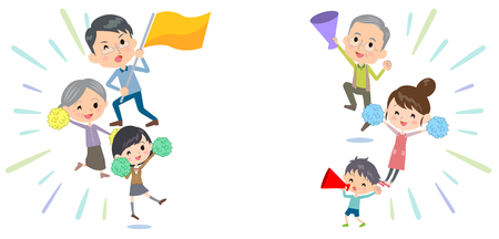 Family three generations Support cheering Illustration
