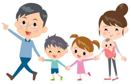 Hand holding family 2 generations Walking Illustration