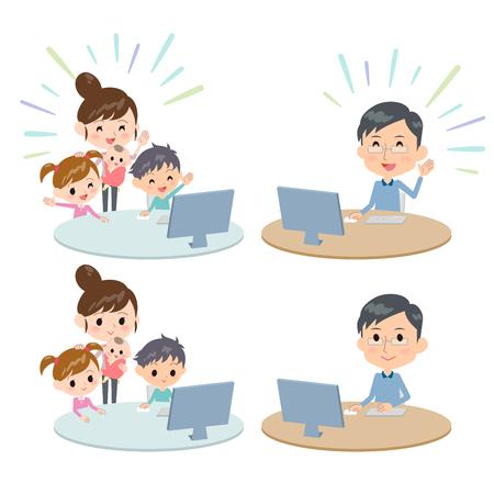 pc: family 2 generations internet communication Remote