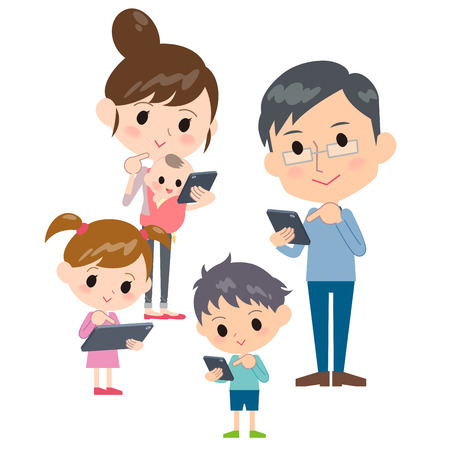 family 2 generations internet communication smartphone tablet gather Illustration