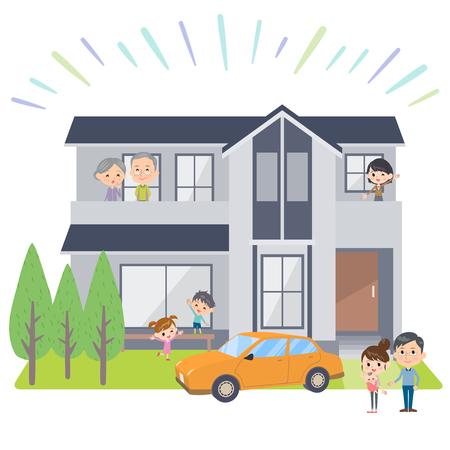 family 3 generations house Viewing Ilustração