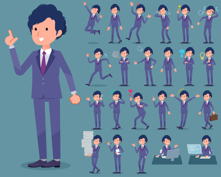 Set of various poses of flat type perm hair businessman Illustration