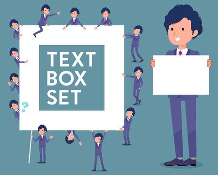 Set of various poses of flat type perm hair businessman text box