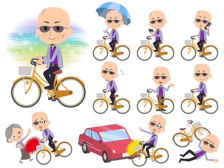Set of various poses of Japanese mafia yakuza men_city bicycle
