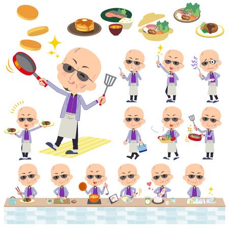 日本のマフィア ヤクザ men_cooking の様々 なポーズの設定します。  イラスト・ベクター素材