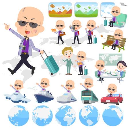 Set of various poses of Japanese mafia yakuza men_travel