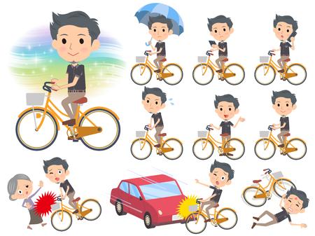 Set van verschillende poses van zwart shirt met korte mouw Korte baard man_city fiets