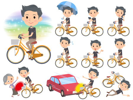 Set of various poses of Black shortsleeved shirt Short beard man_city bicycle