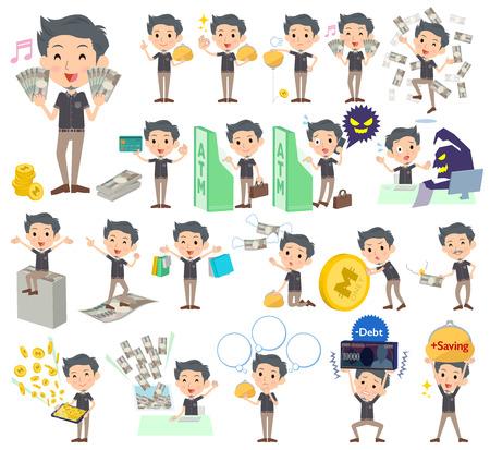 Set of various poses of Black shortsleeved shirt Short beard man_money