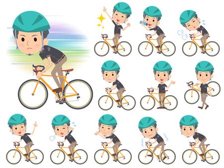Set of various poses of Black shortsleeved shirt Short beard man_rode bicycle