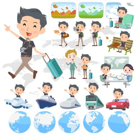 Set of various poses of Black shortsleeved shirt Short beard man_travel 向量圖像