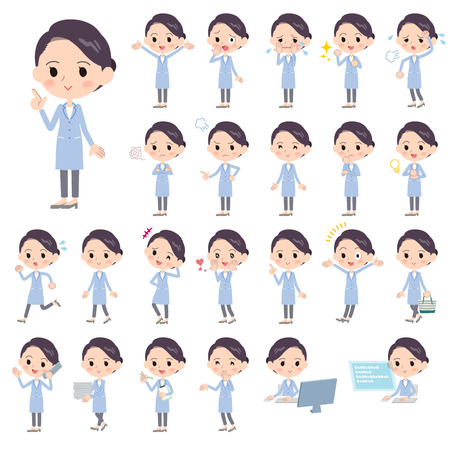 Set of various poses of White coat women_1