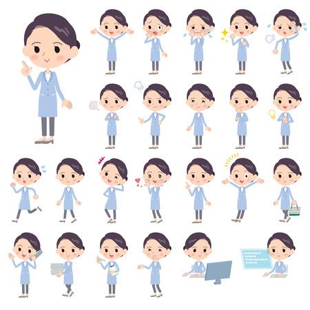 Set von verschiedenen Posen von weißen Mantel women_1 Vektorgrafik