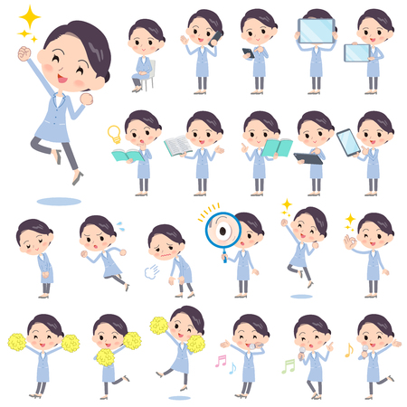 Set of various poses of White coat women_2