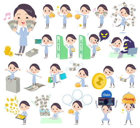 Set of various poses of White coat women_money