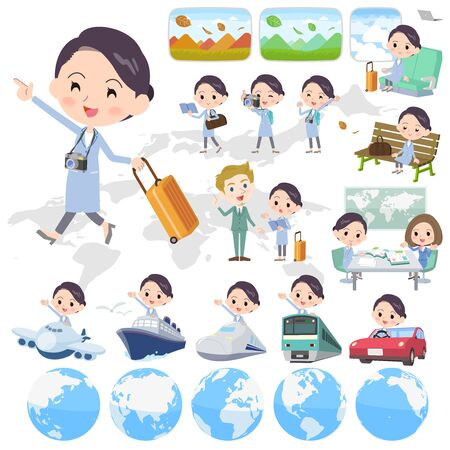 solo: Set of various poses of White coat women_travel Illustration