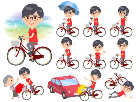 Set of various poses of red Tshirt Glasse men_city bicycle Illustration