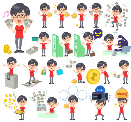 Set of various poses of red Tshirt Glasse men_money Illustration