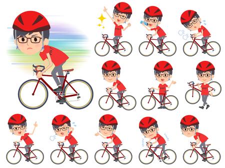 Set of various poses of red Tshirt Glasse men_rode bicycle