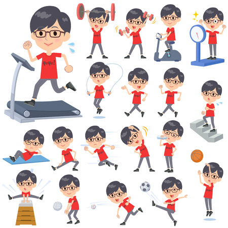 Set of various poses of red Tshirt Glasse men_Sports & exercise