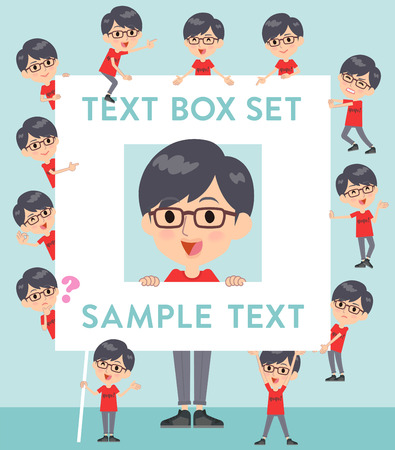 Set of various poses of red Tshirt Glasse men_text box Illustration
