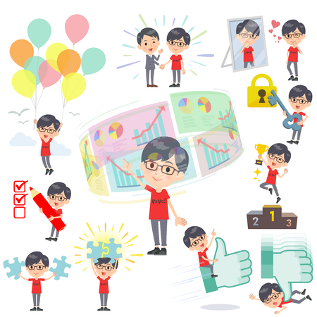 Set of various poses of red Tshirt Glasse men_success & positive Illustration